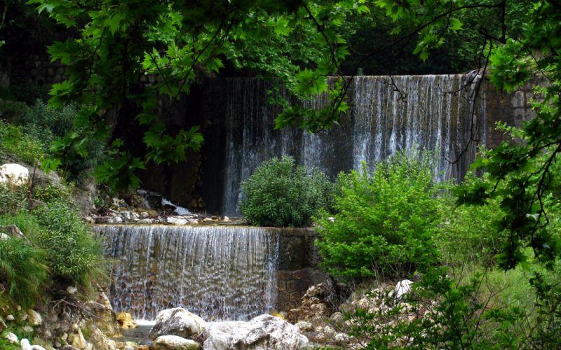 waterfall rivers trees wallpaper