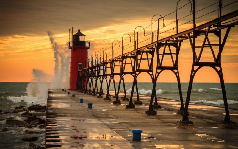 pier lighthouse water waves sky lakes lake sunset sea ocean wallpaper