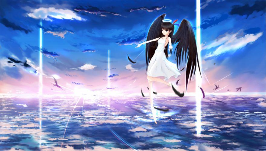 angel clouds dress feathers halo kikivi original scenic sky wings wallpaper