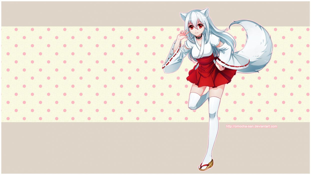 animal ears cleavage collar foxgirl japanese clothes kisumi long hair miko omocha-san original red eyes tail thighhighs white hair wallpaper