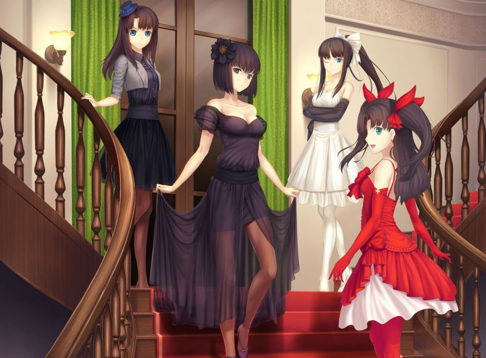 aqua eyes bow brown hair dress gloves green eyes hat kuonji alice long hair ribbons short hair tohno akiha tohsaka rin tsukikanade twintails type-moon wallpaper