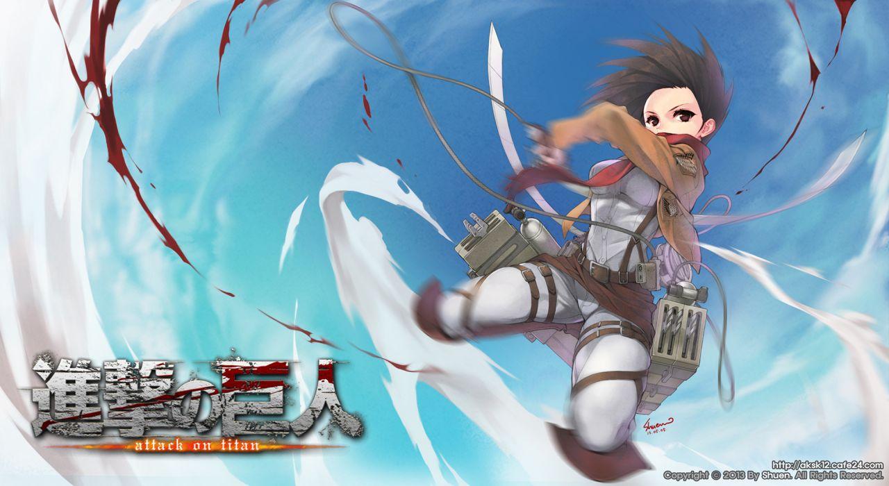 blood mikasa ackerman shingeki no kyojin short hair weapon wallpaper