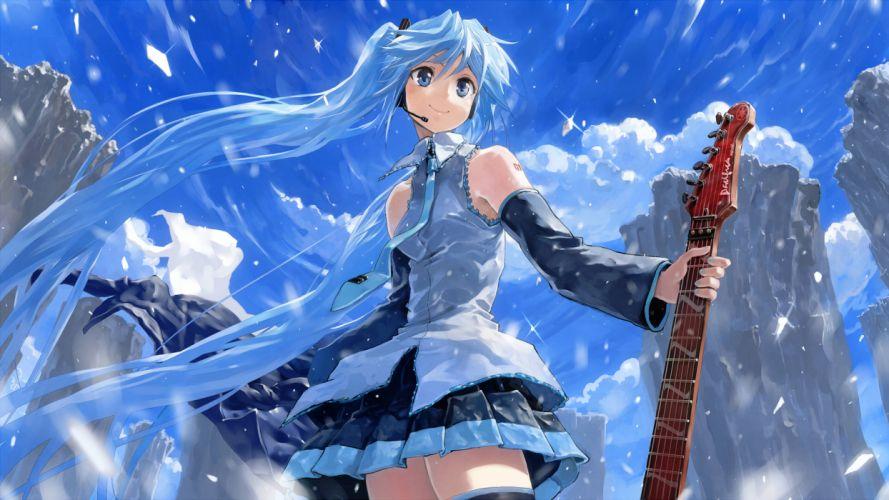 blue hair bob (biyonbiyon) clouds guitar hatsune miku headphones instrument long hair skirt sky snow twintails vocaloid wallpaper