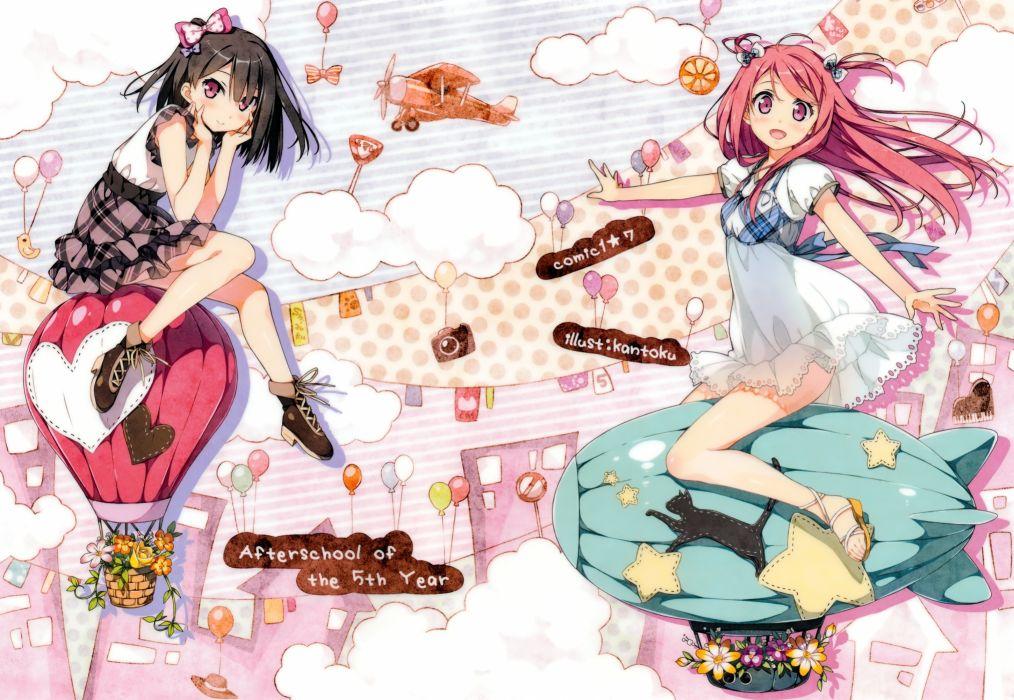 girls 5 nenme no houkago black hair kantoku kurumi (kantoku) red hair shizuku (kantoku) wallpaper