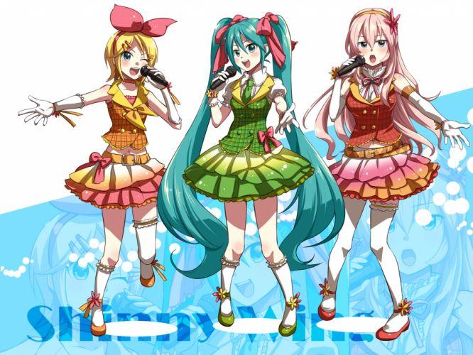 girls caffein dress elbow gloves hatsune miku kagamine rin megurine luka microphone vocaloid wink wallpaper