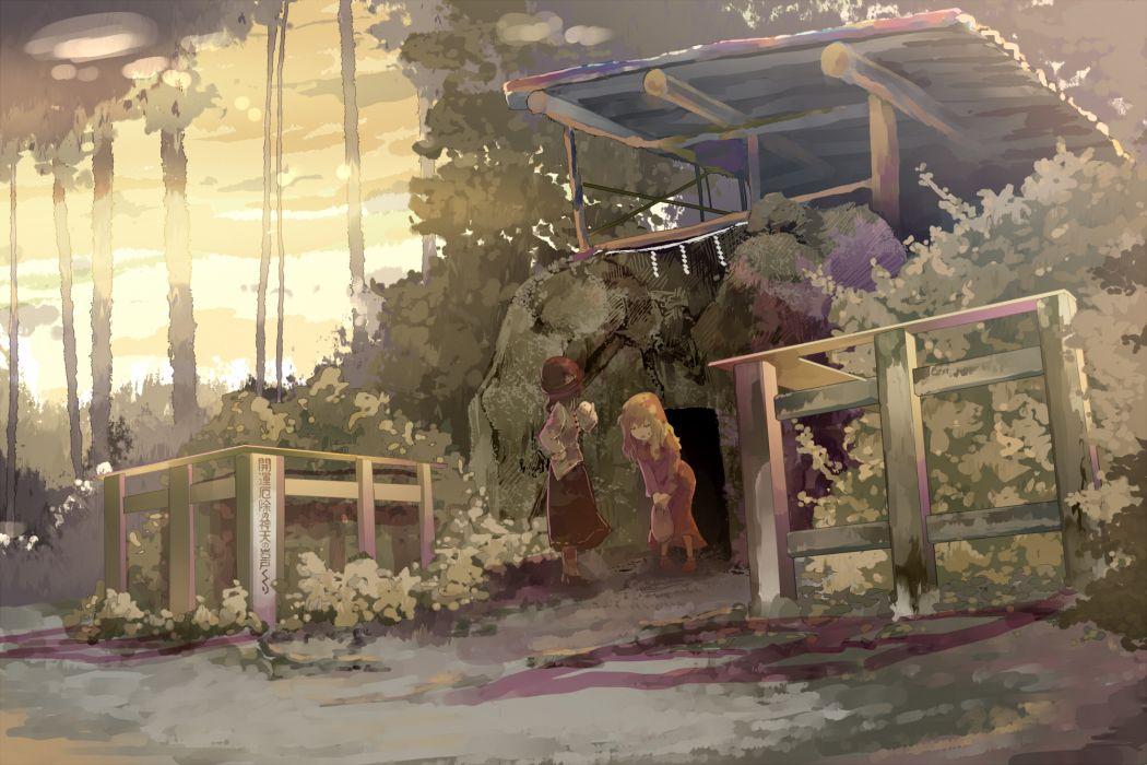 girls dress forest hat maribel han shade shinta (hmmuk) sunset touhou usami renko wallpaper