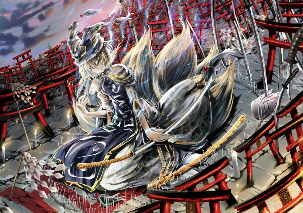 katana multiple tails namamo nanase sword tail torii touhou weapon yakumo ran wallpaper