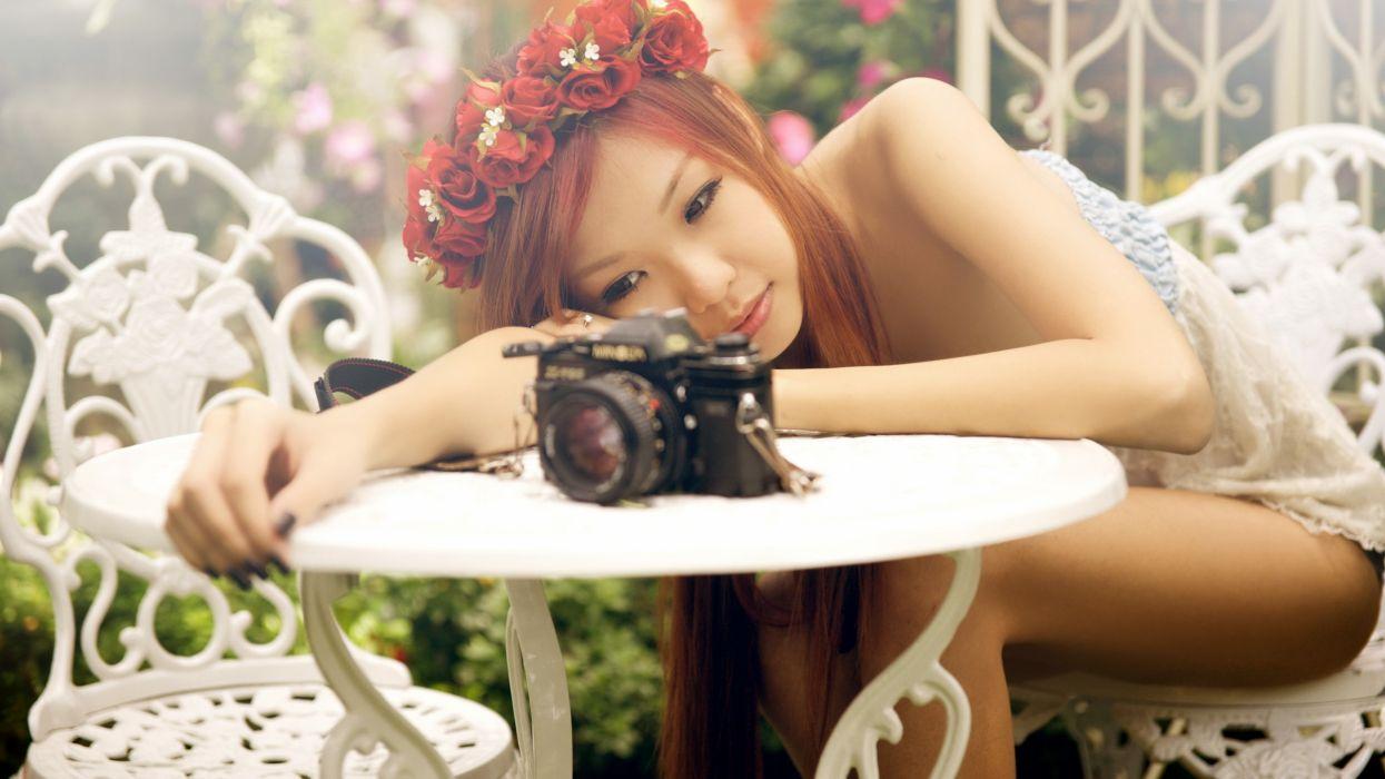 Asian Brunette Camera Minolta girls girl wallpaper
