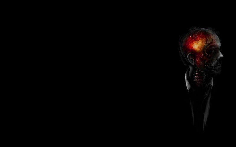 Brain Black Skull Skeleton Skeletons skulls horror macabre wallpaper