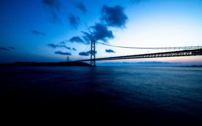 bridge bridges ocean sea night sky clouds wallpaper