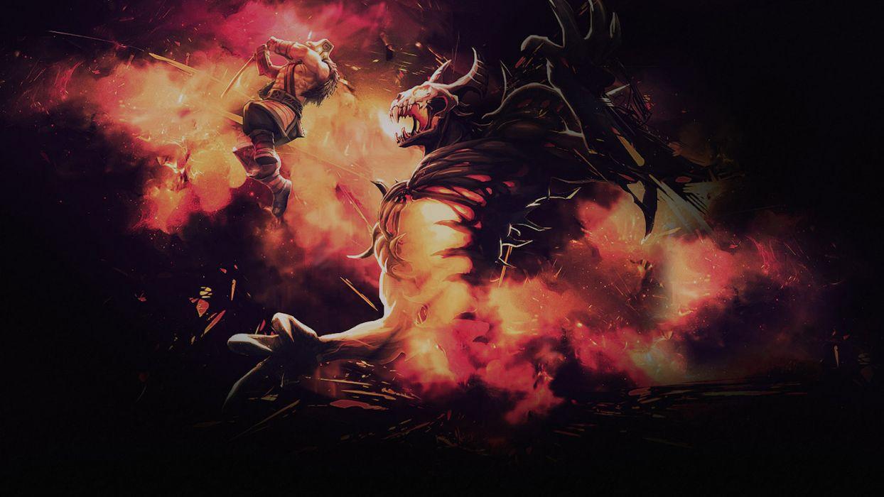 Dota Fight dragon monster warrior warriors wallpaper