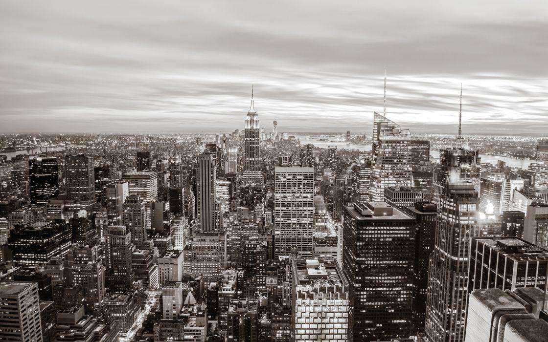 New York Buildings Skyscrapers BW monochrome wallpaper
