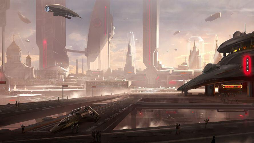 Spaceships Future City spaceship futuristic cities wallpaper