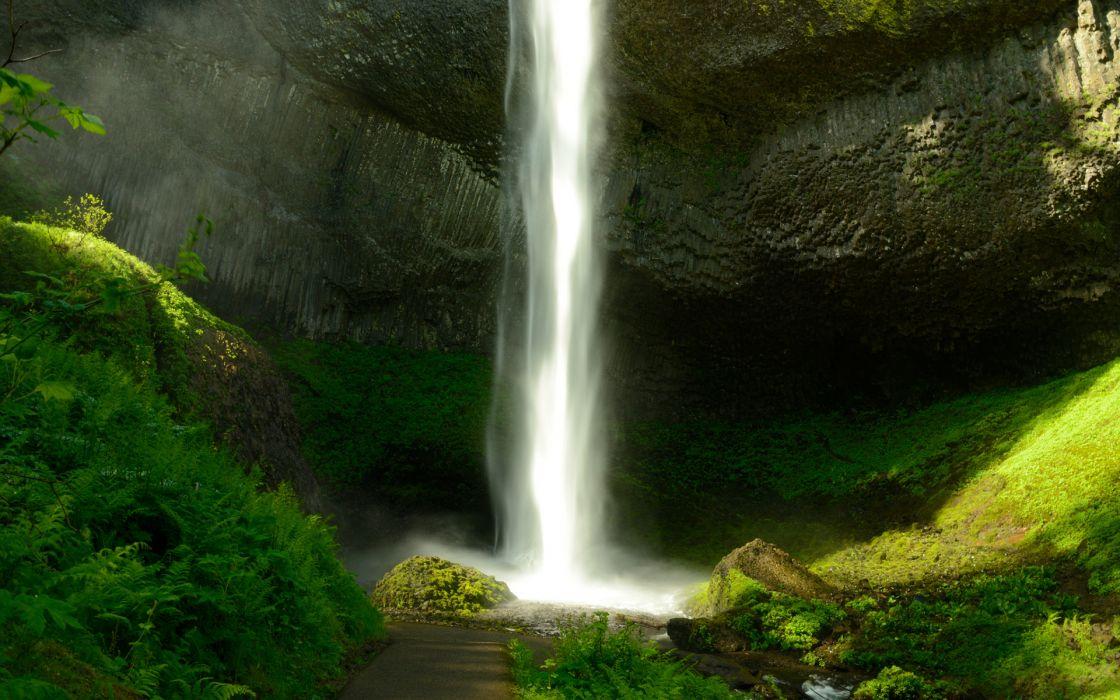 waterfall rivers jungle ferns wallpaper