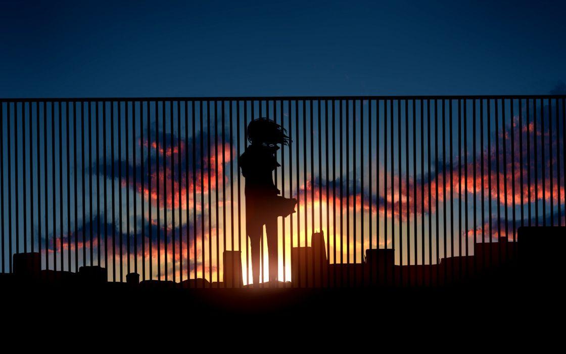 Anime Sunset Fence Silhouette original wallpaper