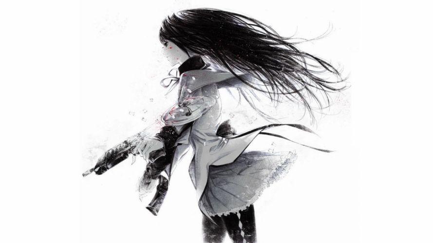 original weapons guns blood girls dark wallpaper