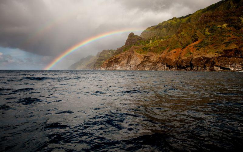 Ocean Coast Island Rainbow wallpaper
