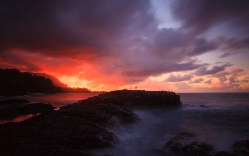 Person Sunset Shore Ocean Clouds sea mood wallpaper