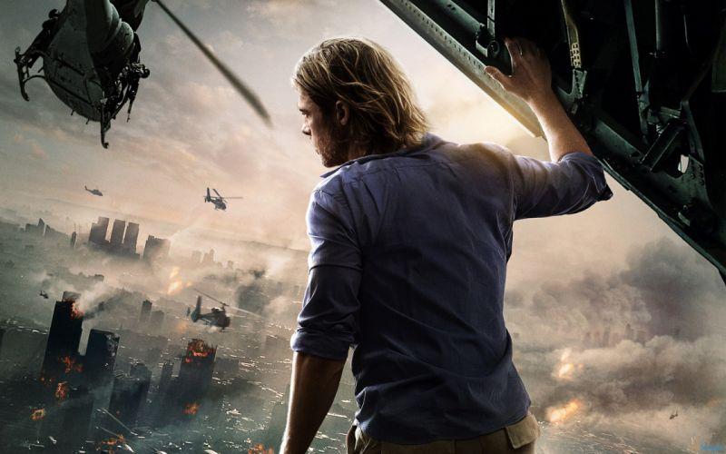 World War Z Brad Pitt Helicopter Smoke Fire Back apocalyptic wallpaper