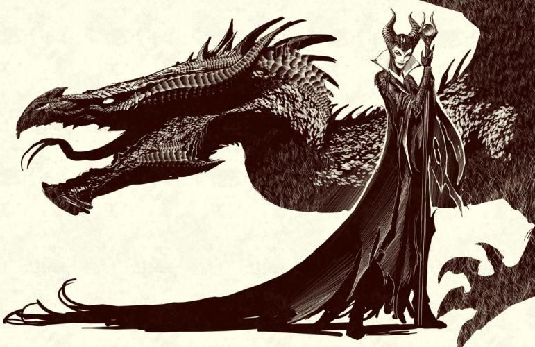 Dragons Mage Staff Head Fantasy Girls dragon wallpaper