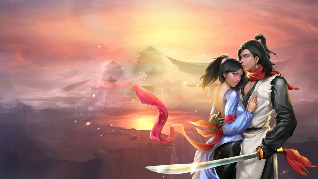 Love Man Mountains Sabre Fantasy Girls mood romance wallpaper