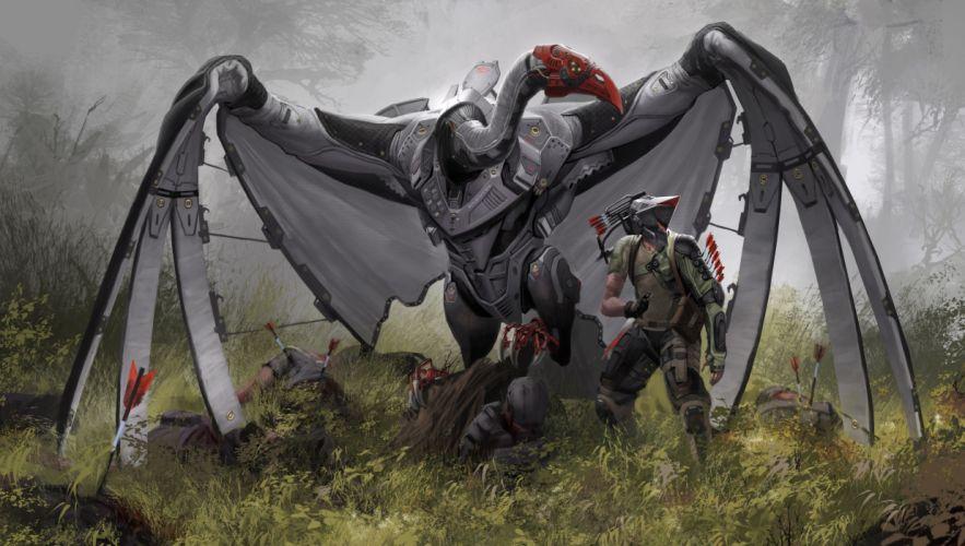 Technics Birds Warriors Fantasy cyborg cyborgs robot robots archer wallpaper