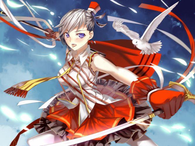 animal bird blue eyes miyazaki byou original ribbons short hair sword weapon wallpaper