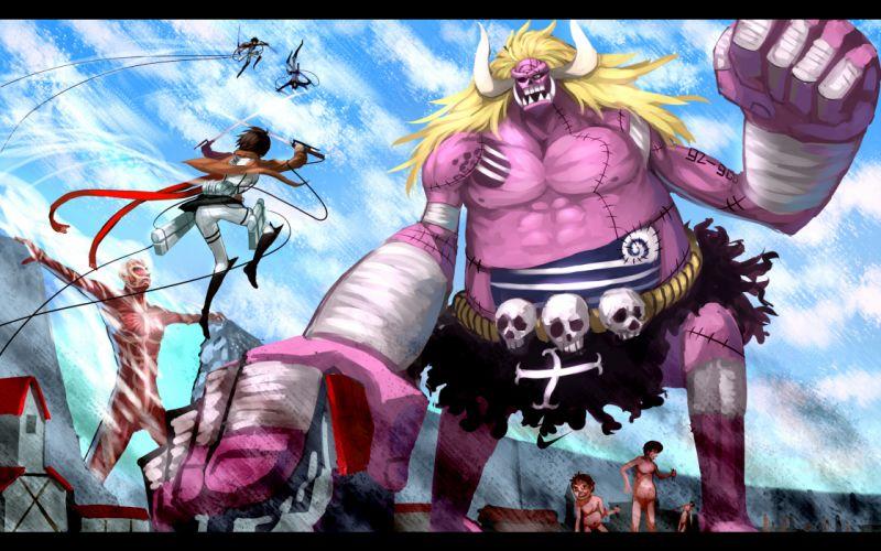 Shingeki no Kyojin One Piece cross-over crossover cross over wallpaper