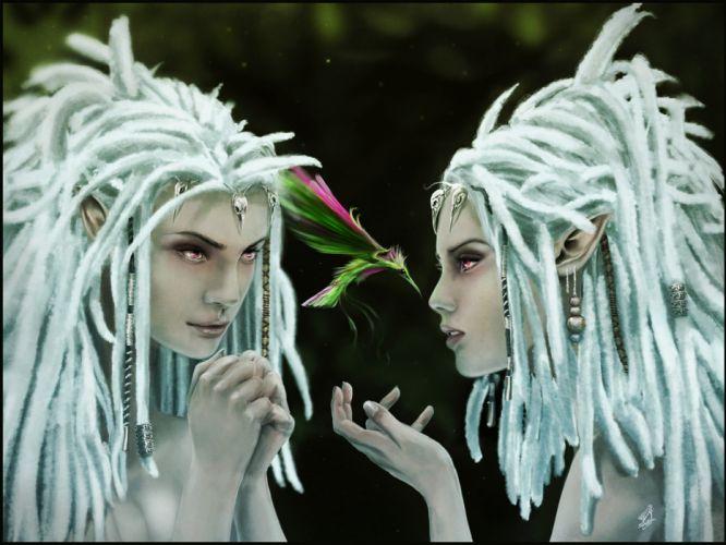 Girls Dreadlocks witch occult fantasy witches women birds wallpaper