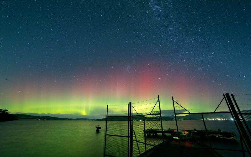 Aurora Borealis Northern Lights Night Green Stars Lakes Fence sky wallpaper