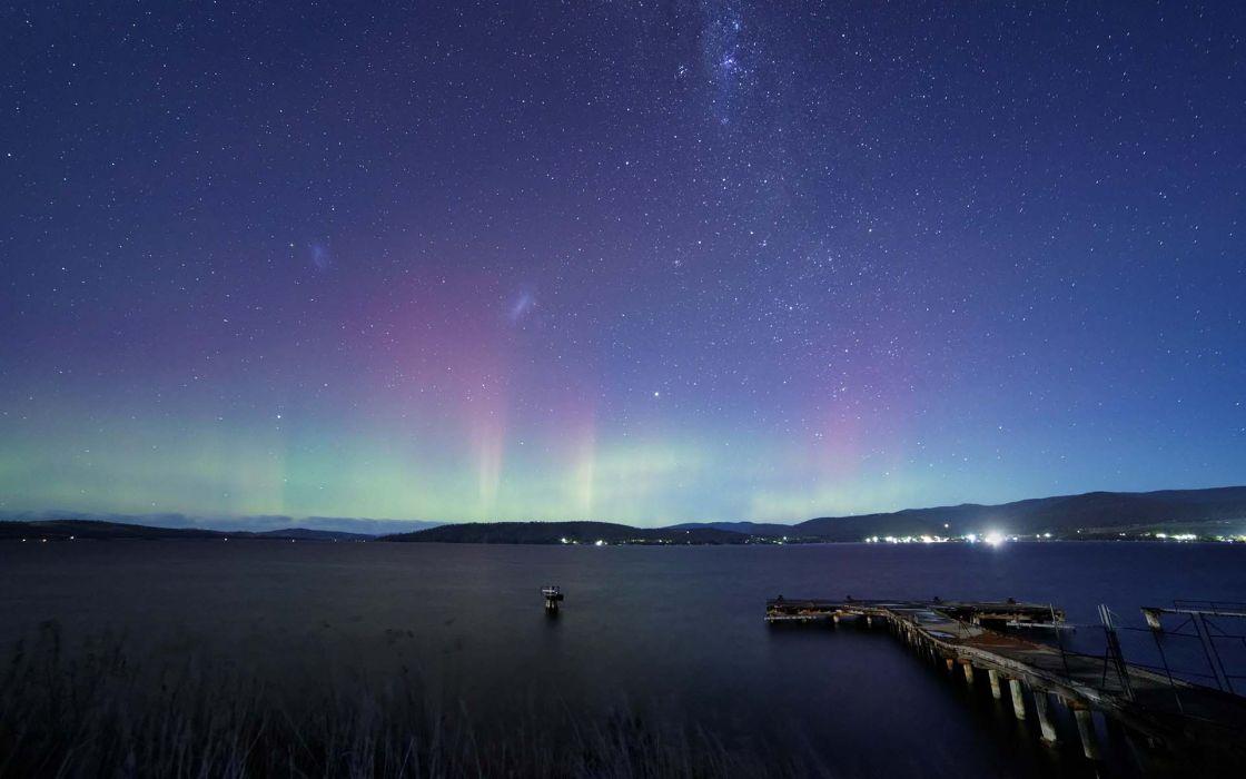 Aurora Borealis Northern Lights Night Stars Lakes Dock sky wallpaper