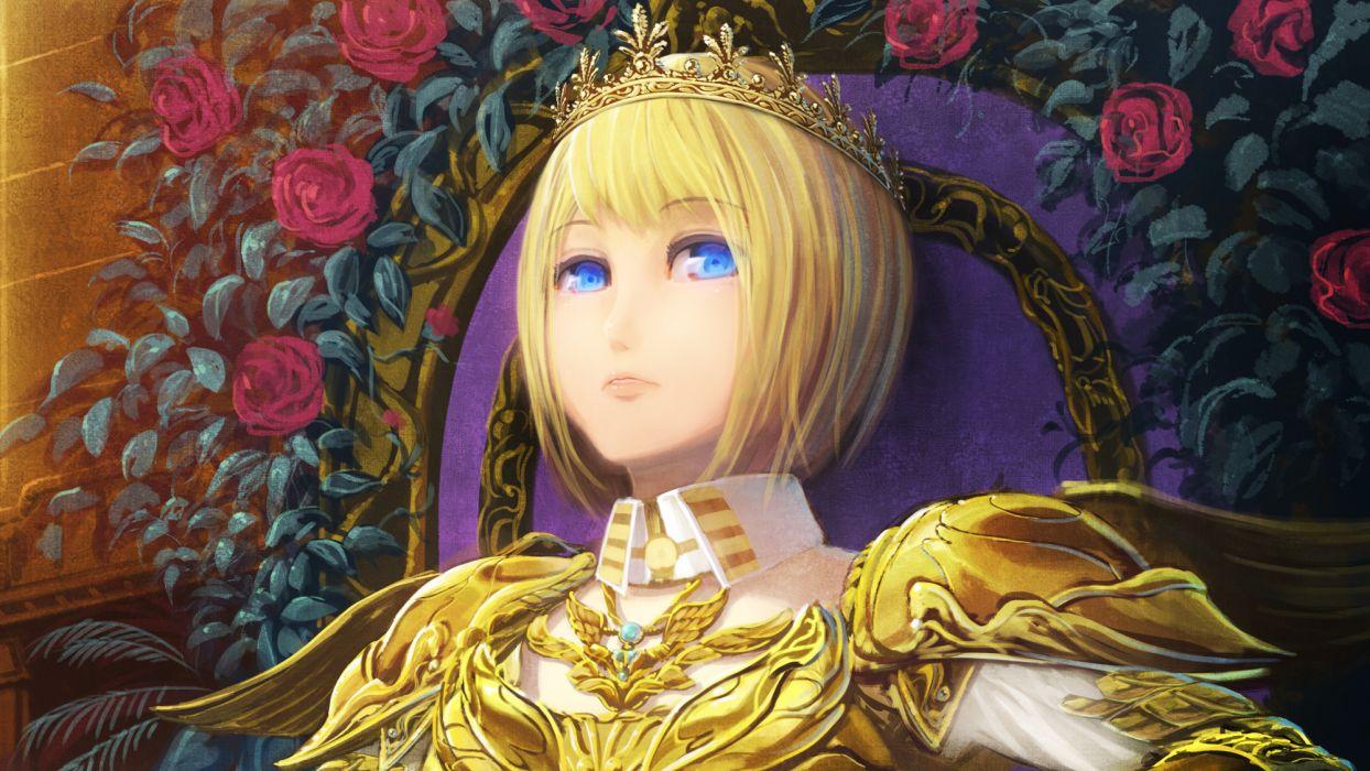 armor blonde hair blue eyes crown flowers original rose senko doki short hair wallpaper