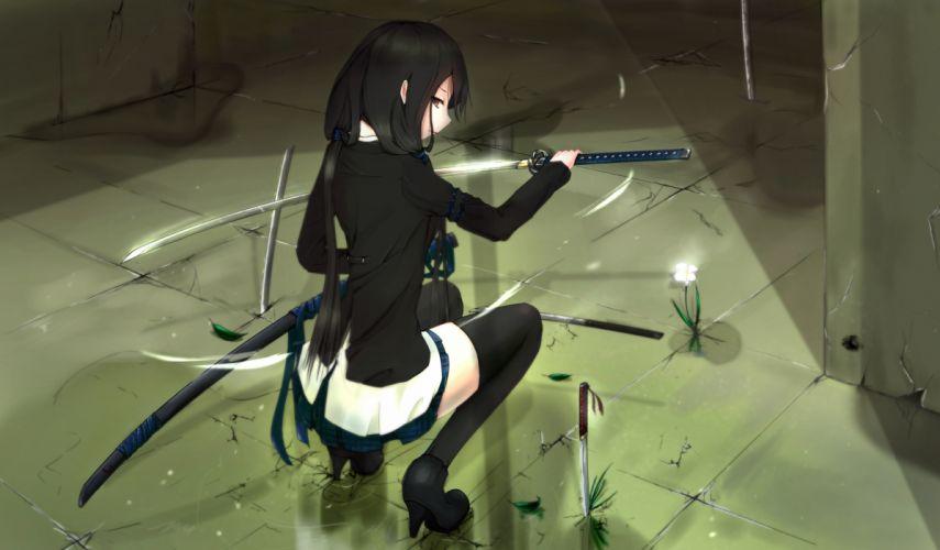 black hair katana kikivi original red eyes sword thighhighs weapon wallpaper