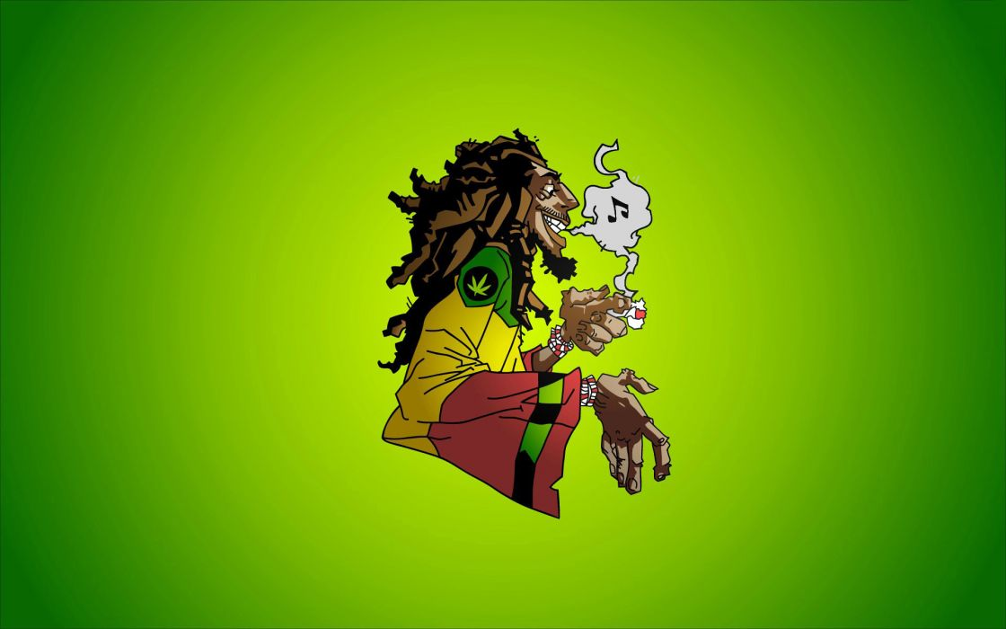 Bob Marley Reggae Music Caricature Smoke Marijuana Dreadlocks Jamaica Rocksteady Ska Weed Wallpaper