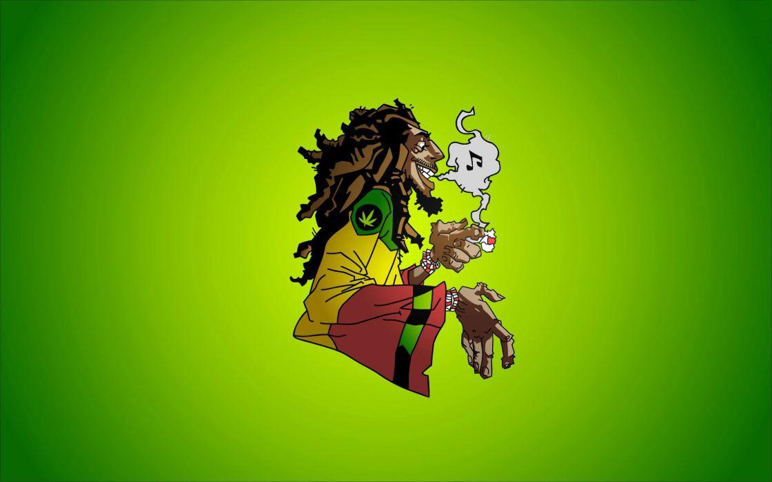 Bob Marley reggae music caricature smoke marijuana dreadlocks Jamaica rocksteady ska weed smoke wallpaper