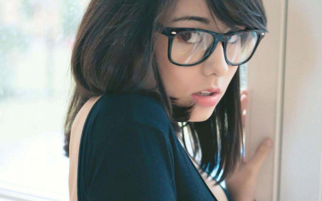 brunettes women white models asians hipster laura baduria girls with glasses wallpaper