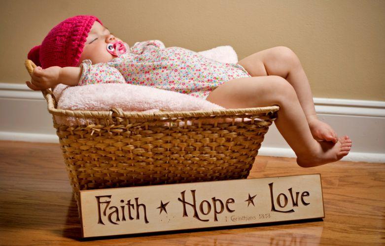 Children Infants Wicker basket bible verse religion cute baby babies texts wallpaper