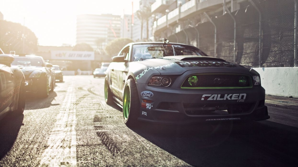 Formula D Ford Mustang Gittin Falken Monster Energy drift muscle race racing wallpaper