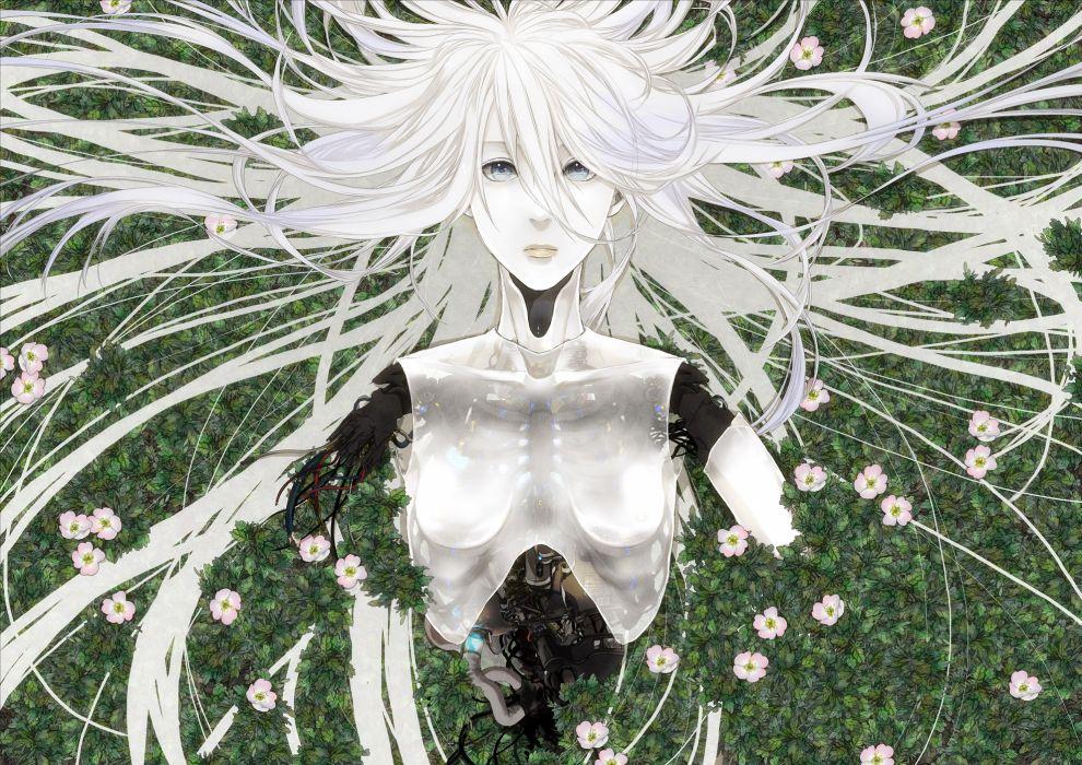 hitaki azami original robot white hair robots cyborg cyborgs wallpaper