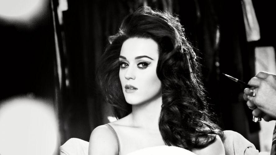 Katy Perry Brunette Face B-W wallpaper