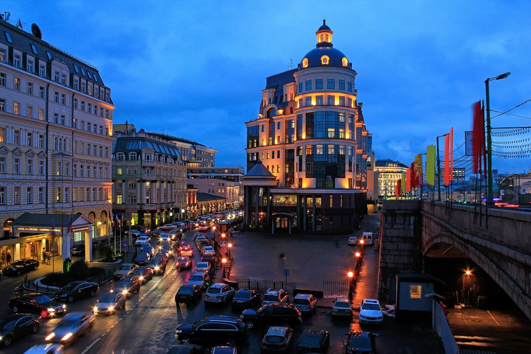moscow roads buildings building city cities cars night lights wallpaper