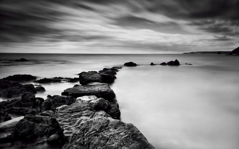 Ocean Rocks Stones B-W sea wallpaper