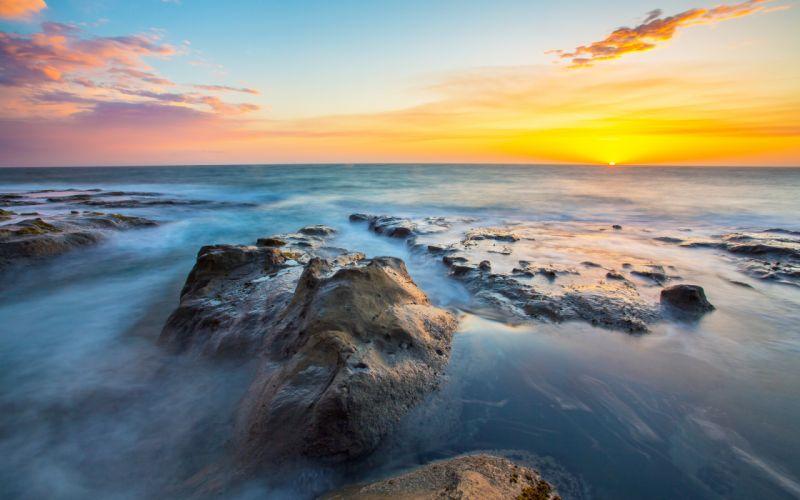 Ocean Rocks Stones Sunset sea wallpaper