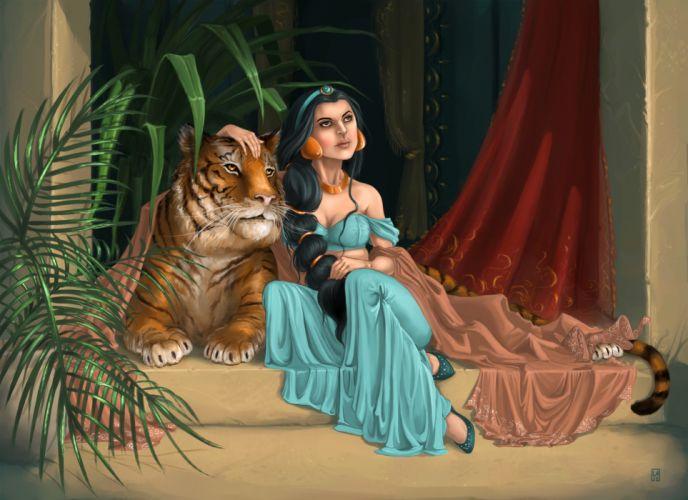 Painting Art Tigers Braid hair Girls tiger wallpaper