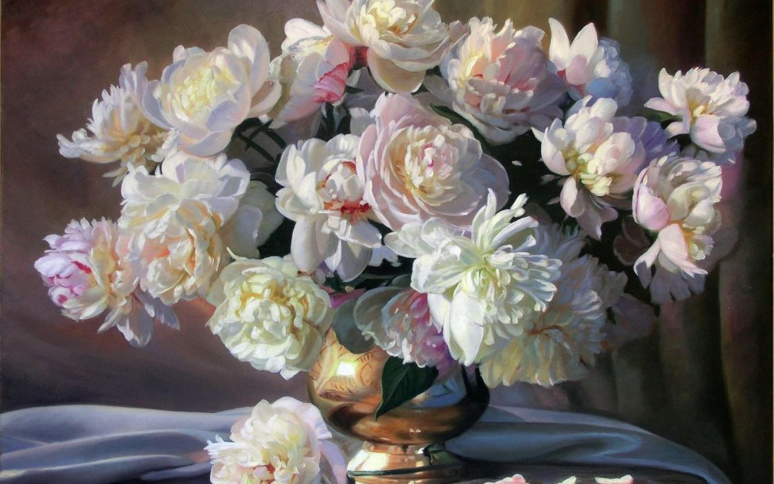 painting still life Zbigniew Kopania flowers peonies white bouquet vase petals fabric painting paintings wallpaper