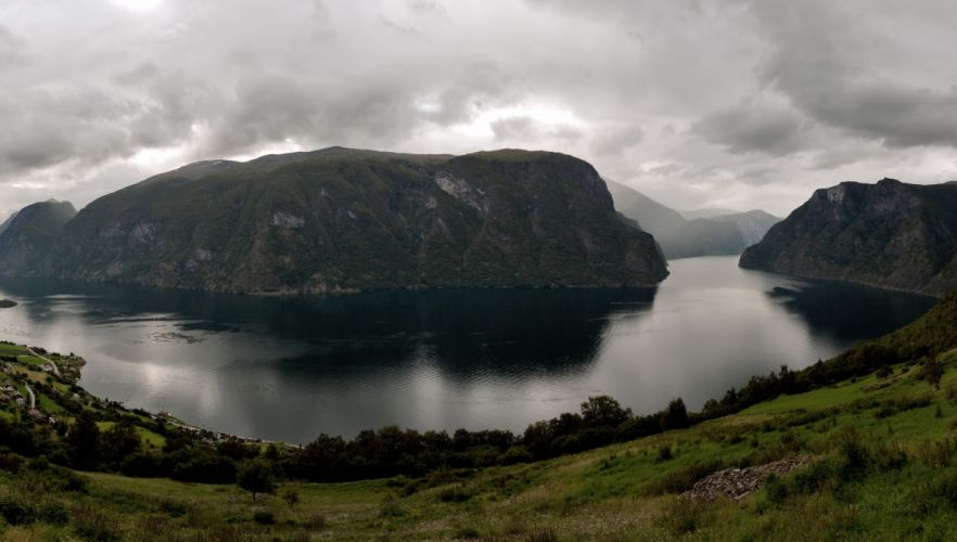 Scenery Norway Aurlands Fjord Nature landscapes clouds wallpaper