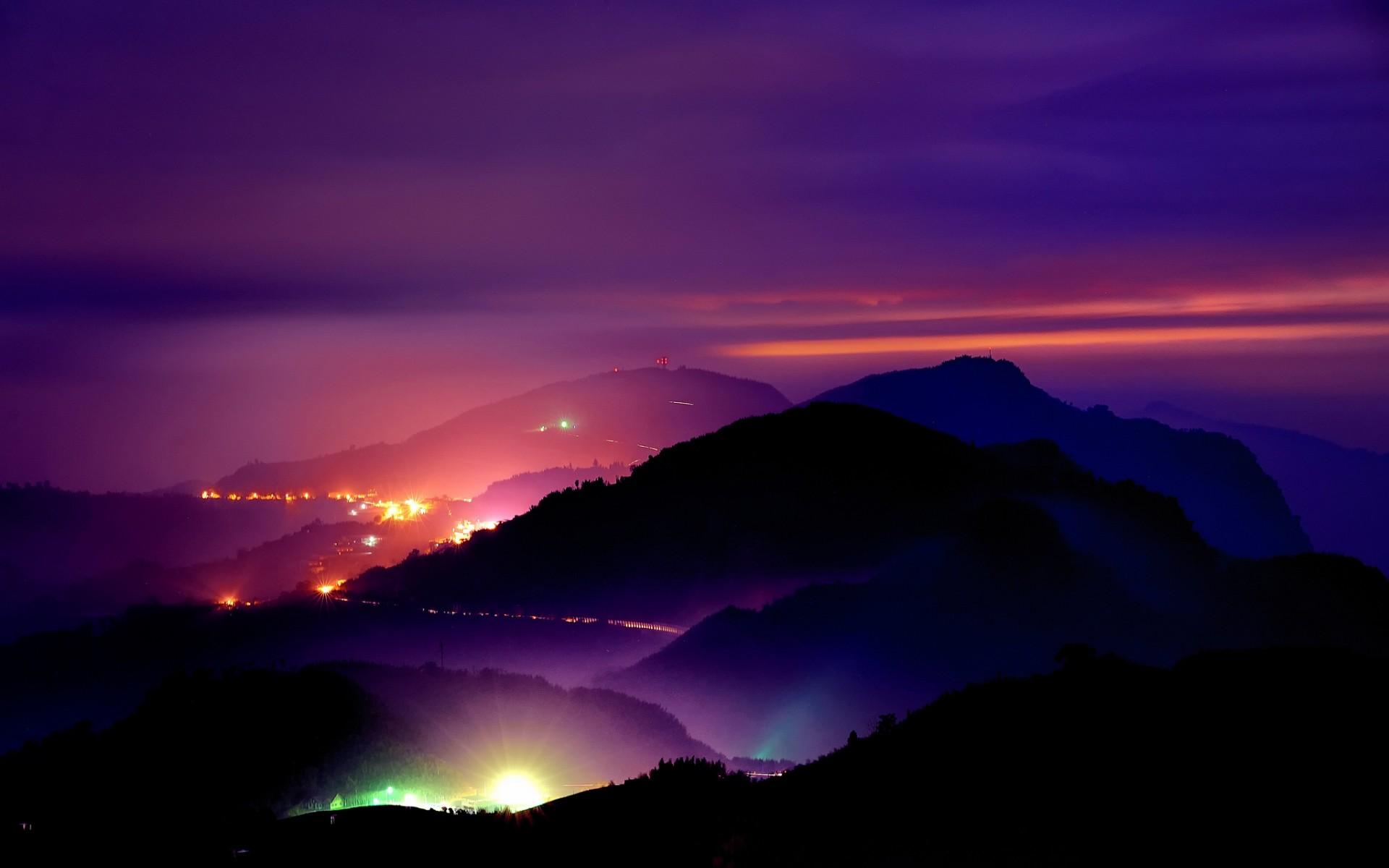 Sunset Roads Mountains Night Lights Light Sky Wallpaper