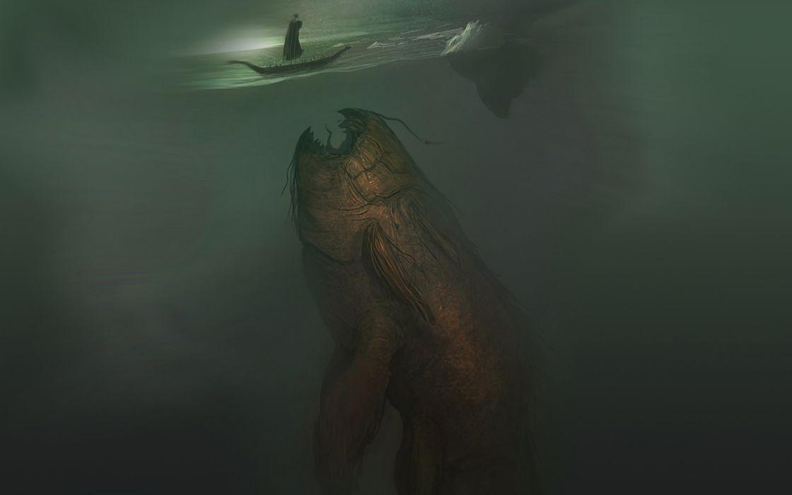 water monsters fish fantasy art artwork monster underwater wallpaper