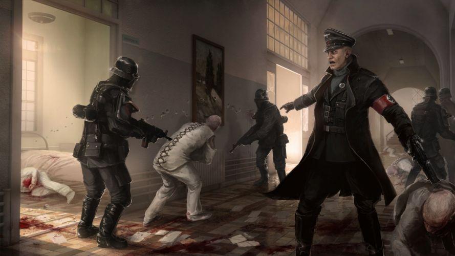 Wolfenstein Drawing Nazi Blood Straight Jacket dark wallpaper
