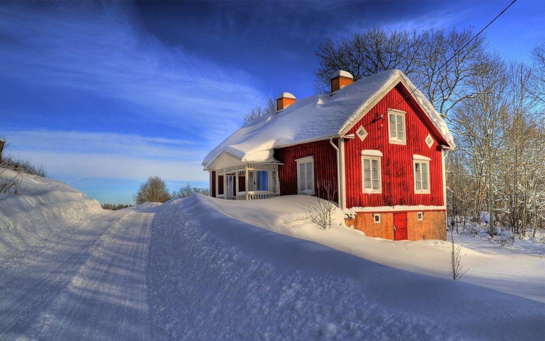 house snow winter wallpaper